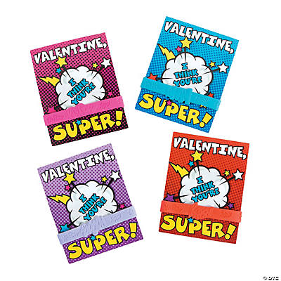 Valentine Superhero Cards with Rubber Bracelet