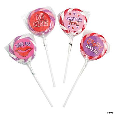 valentine swirl lollipops with stickers - Valentine Lollipops