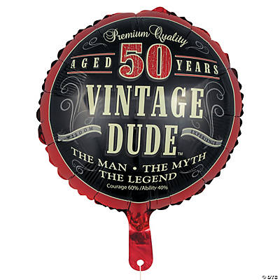 "Vintage Dude 50th Birthday Metallic 18"" Mylar Balloon"