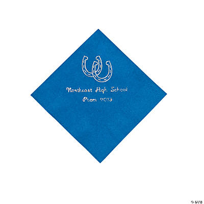 Western Blue Personalized Beverage Napkins with Silver Print
