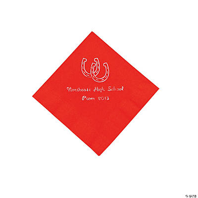 Western Red Personalized Beverage Napkins with Silver Print