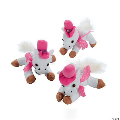 White & Pink Cowgirl Stuffed Horses