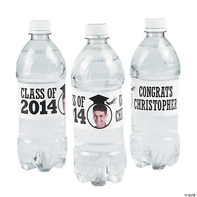 White Class of 2014 Custom Photo Water Bottle Labels