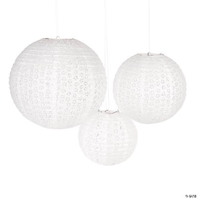 White Eyelet Party Lanterns