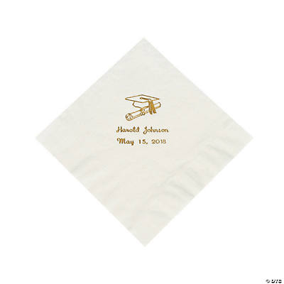 White Graduation Personalized Luncheon Napkins with Gold Print