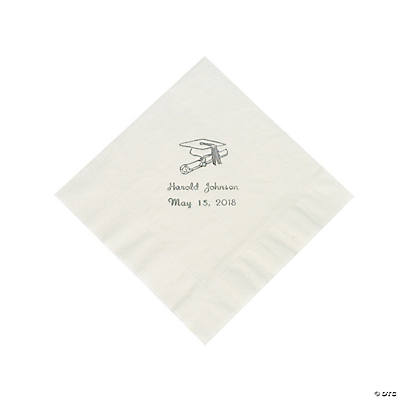 White Graduation Personalized Luncheon Napkins with Silver Print