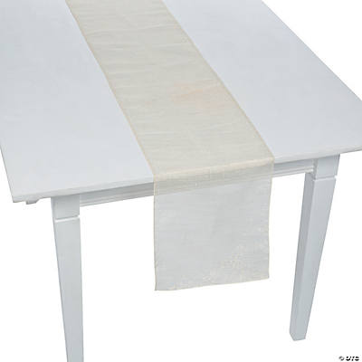 White Metallic Linen Table Runner