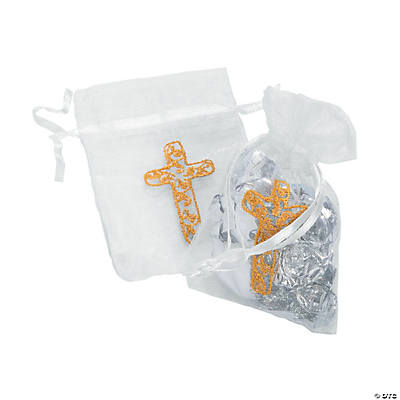 White Organza Bags with Cross