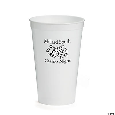 White Personalized Casino Tumblers