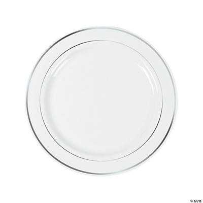 Amazing White Premium Plastic Dinner Plates With Silver Trim
