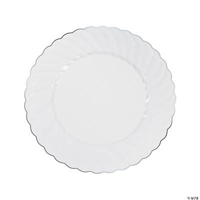 Beautiful White Premium Plastic Dinner Plates With Silver Trim