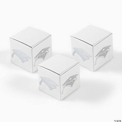 White Treat Boxes with Silver Graduation Caps