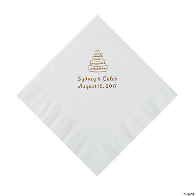 white wedding cake personalized napkins with gold foil luncheon. Black Bedroom Furniture Sets. Home Design Ideas