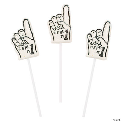 "White ""We're #1"" Finger-Shaped Suckers"