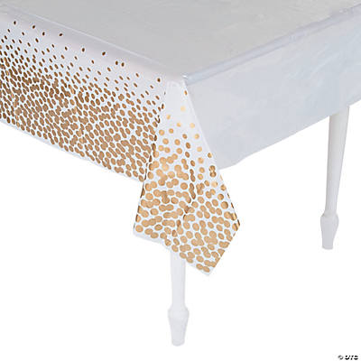 High Quality White With Gold Dots Tablecloth