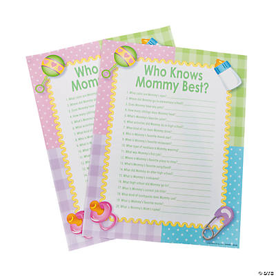 U201cWho Knows Mommy Bestu201d Baby Shower Game