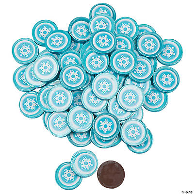 Winter Coins Chocolate Candy With Snowflake Sticker