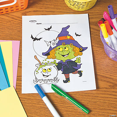 Witch with Cauldron Free Printable Coloring Page