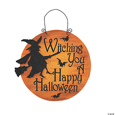 """Witching You A Happy Halloween"""" Sign - Oriental Trading - Discontinued"""