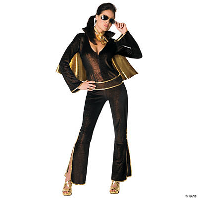 Women's Black Jumpsuit Elvis Costume
