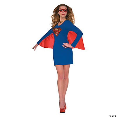 Women's Glitter Supergirl Costume with Wings