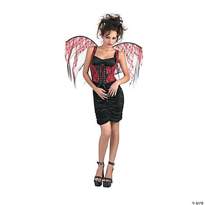 Women's Red & Black Lace Corset With Wings Costume - Standard