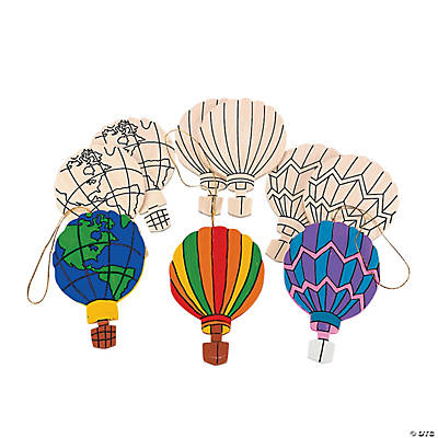 "Wooden Color Your Own ""Up, Up And Away"" Hot Air Balloon Ornaments"