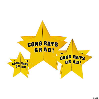 "Yellow ""Congrats Grad"" Stars Centerpiece"
