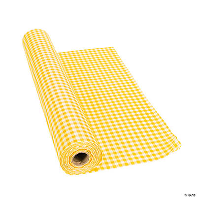 Yellow Gingham Plastic Tablecloth Roll