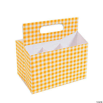Yellow Gingham Tableware Caddy