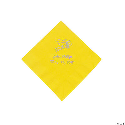 Yellow Grad Personalized Beverage Napkins with Silver Print