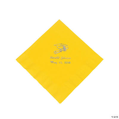 Yellow Graduation Personalized Luncheon Napkins with Silver Print