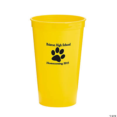 Yellow Paw Print Personalized Tumblers
