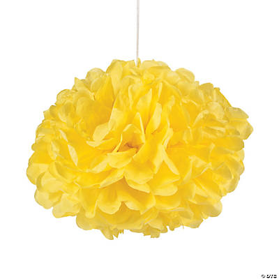 Yellow Pom-Pom Tissue Decorations