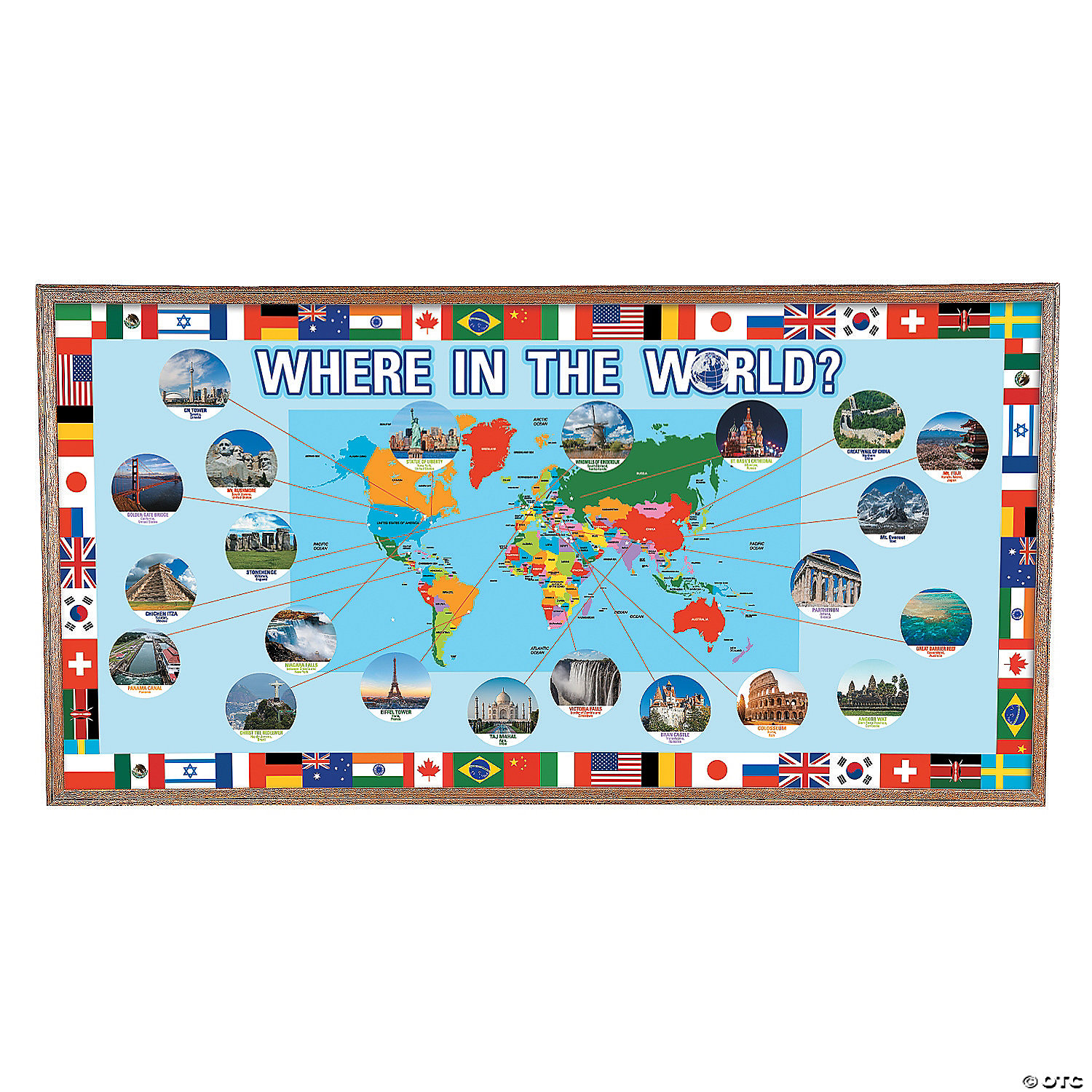 Bulletin board borders supplies decorations oriental trading around the world bulletin board set gumiabroncs Image collections