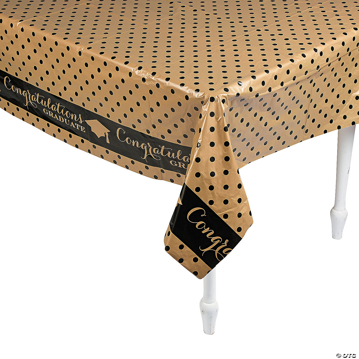 Black And Gold Plastic Tablecloth