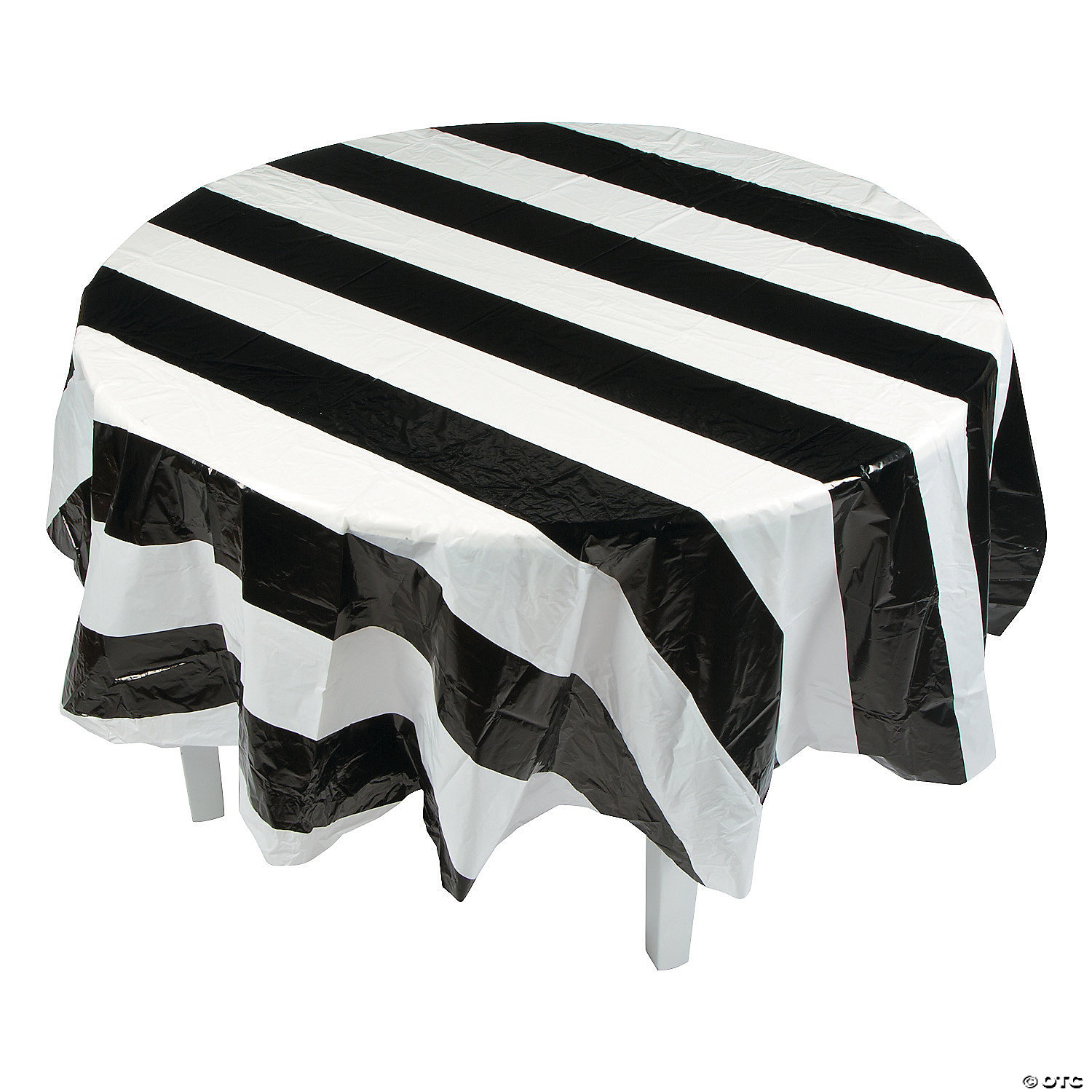 Gentil Black And White Stripe Round Plastic Tablecloth