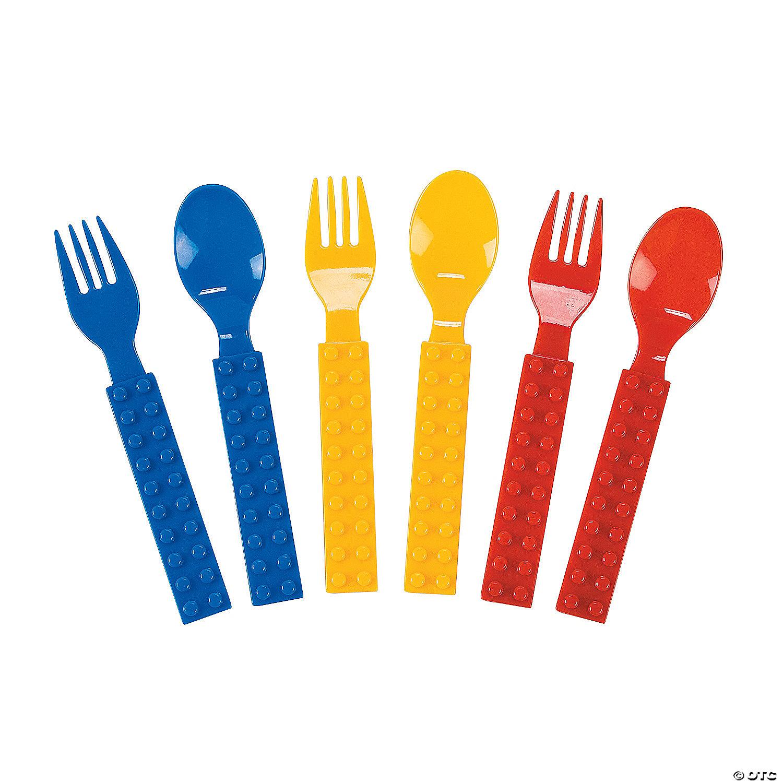 Color Brick Party Plastic Fork & Spoon Set