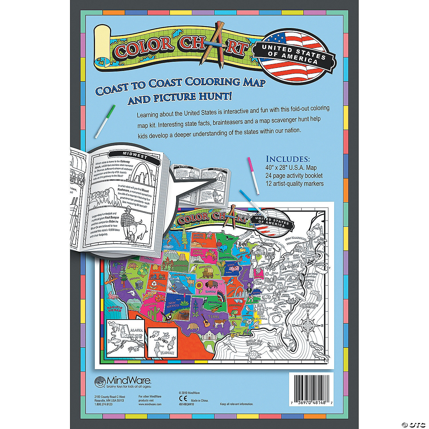 Color Chart United States - Map of the united states color