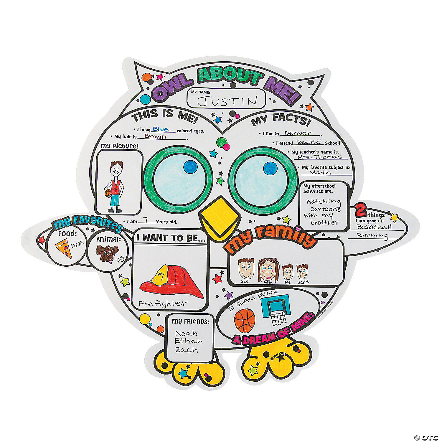 """Color Your Own """"All About Me"""" Owl Posters"""