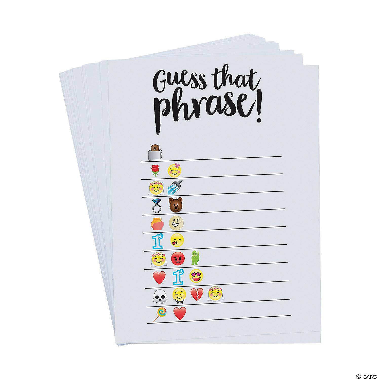Emoji Guess The Phrase Bridal Shower Game