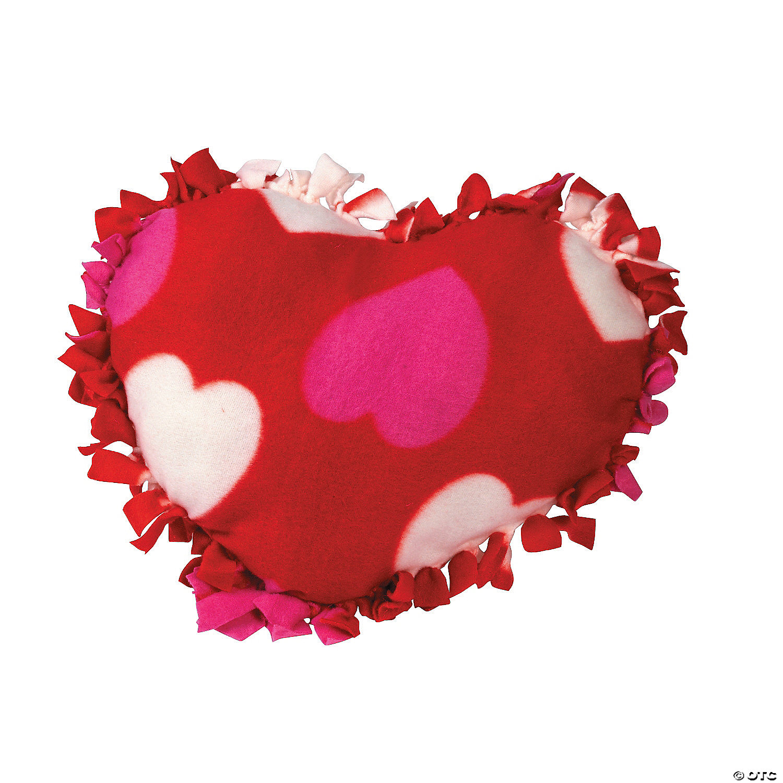 fleece valentine heart tied pillow craft kit - Valentine Pillow