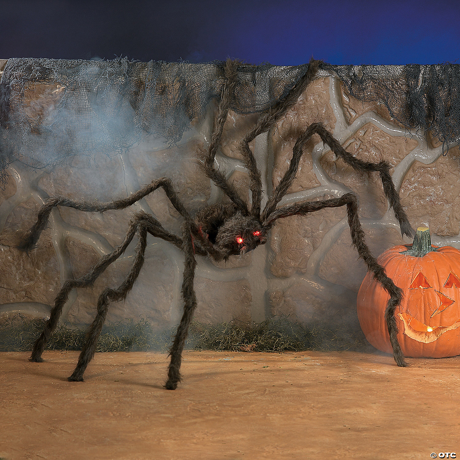 hairy spider with led eyes - Spider Decorations