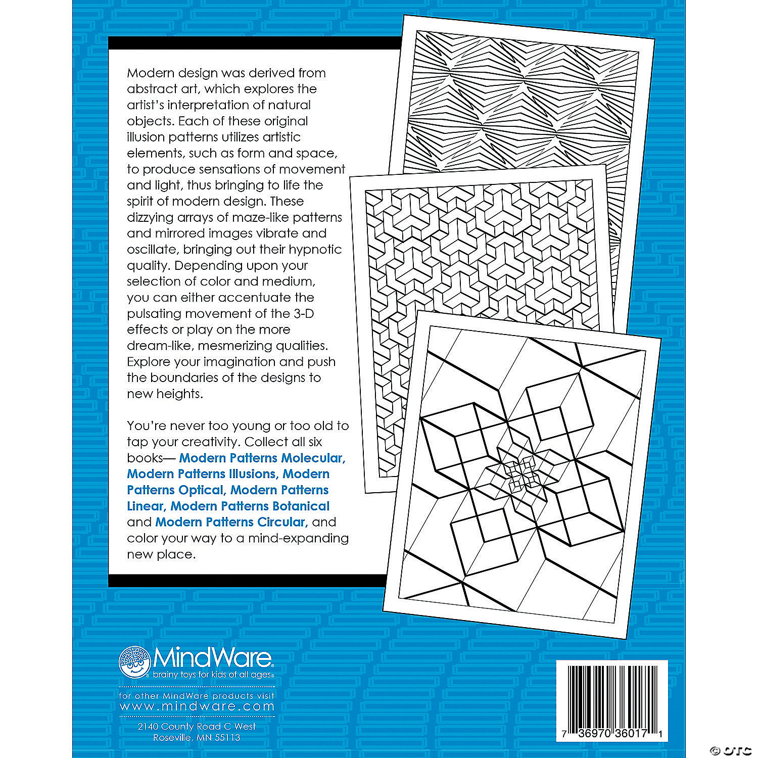 modern patterns illusions coloring book - Mindware Coloring Books