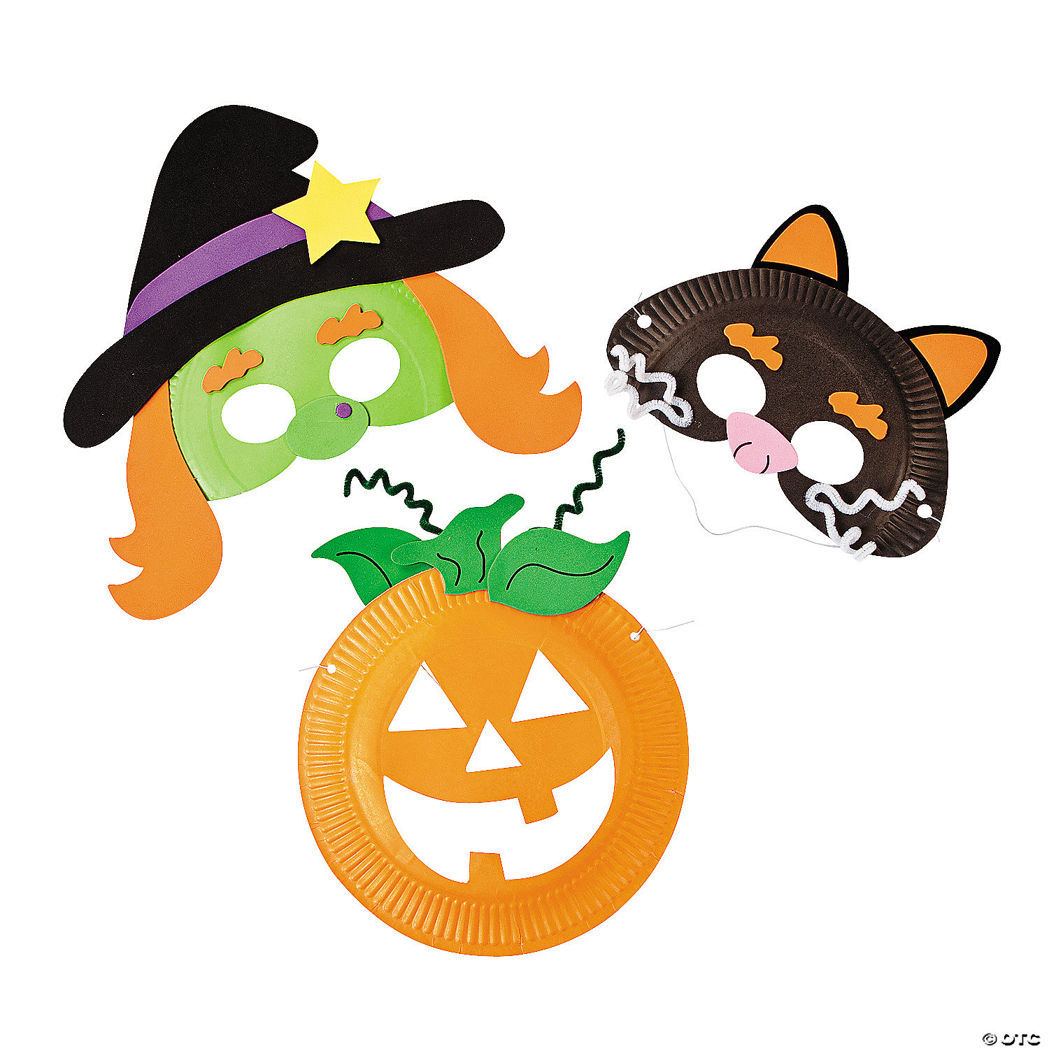 Kids paper plate crafts oriental trading company paper plate halloween mask craft kit jeuxipadfo Image collections