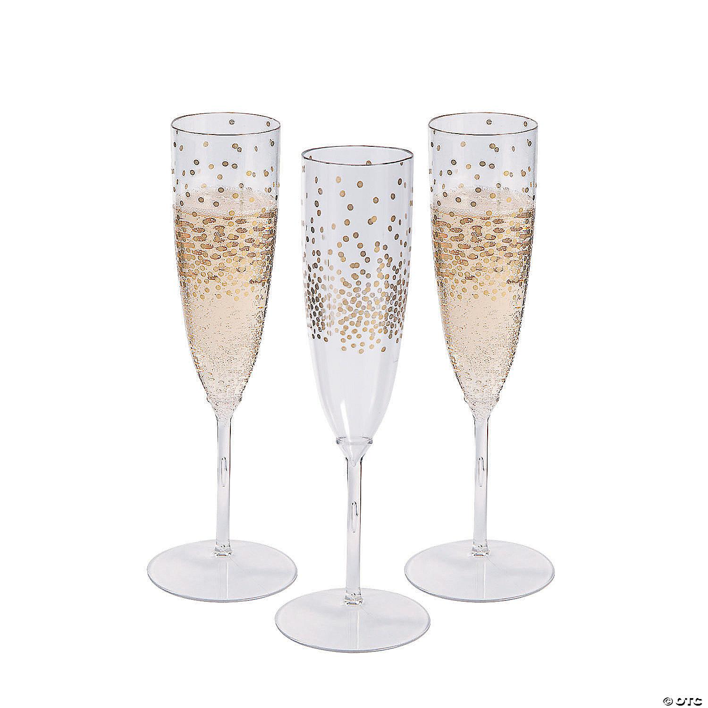 Premium Plastic Gold Dot Champagne Flutes