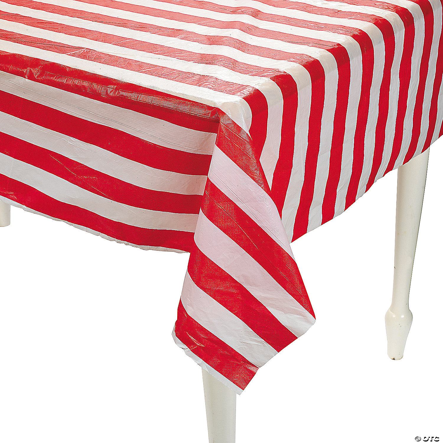 Charmant ... Red And White Striped Plastic Tablecloth Roll