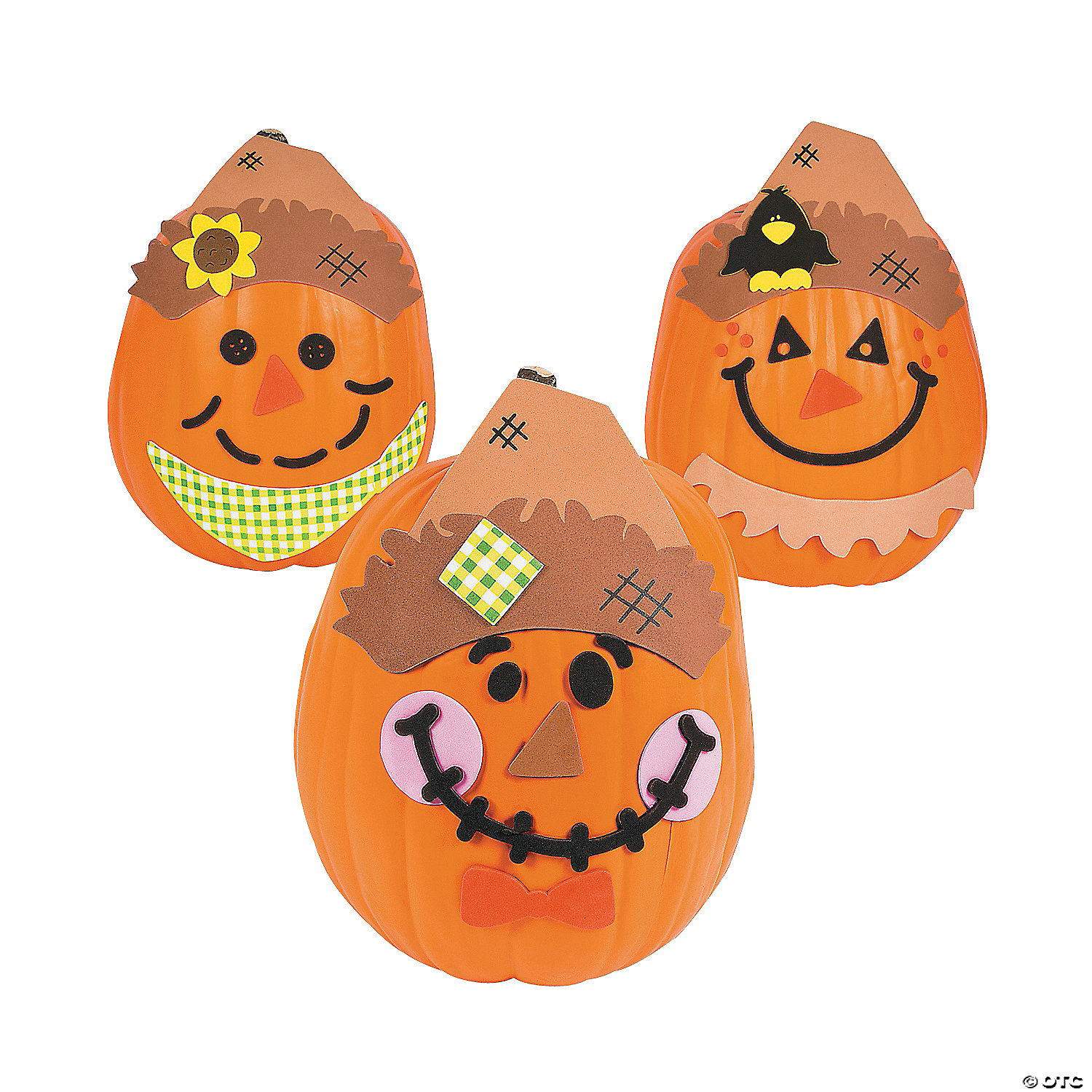 Scarecrow pumpkin decorating craft kit makes 12 kits for Craft masks to decorate