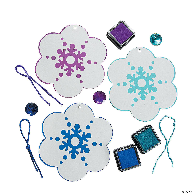 Snowflake christmas ornaments bulk - Thumbprint Snowflake Christmas Ornament Craft Kit