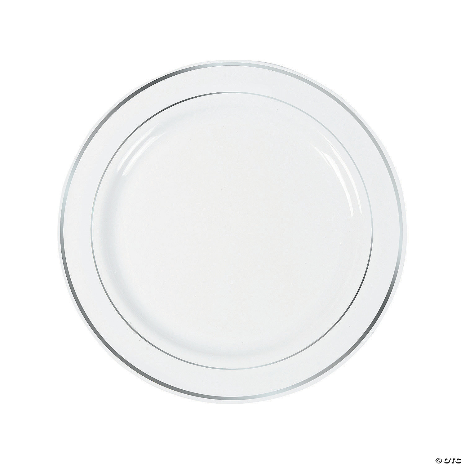 white-premium-plastic-dinner-plates-with-silver-trim ...  sc 1 st  Oriental Trading & White Premium Plastic Dinner Plates with Silver Trim